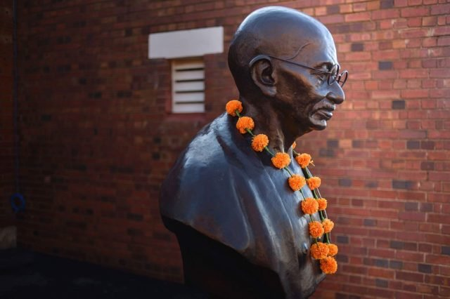 "A sculpture in tribute to Indian independence hero Mahatma Gandhi is pictured during the visit of Indian Prime Minister to the Constitutional Hill in Johannesburg on July 8, 2016, where Mahatma Gandhi and South African former president and liberation icon Nelson Mandela were kept in prison. Indian Prime Minister Narendra Modi took his Africa tour to South Africa on Friday, seeking to boost trade between two countries that he said ""shared values, suffering and struggles"". Among the countries' cultural and historic links is the 21 years that Mahatma Gandhi spent living in South Africa as a young lawyer and activist. / AFP / MUJAHID SAFODIEN        (Photo credit should read MUJAHID SAFODIEN/AFP/Getty Images)"