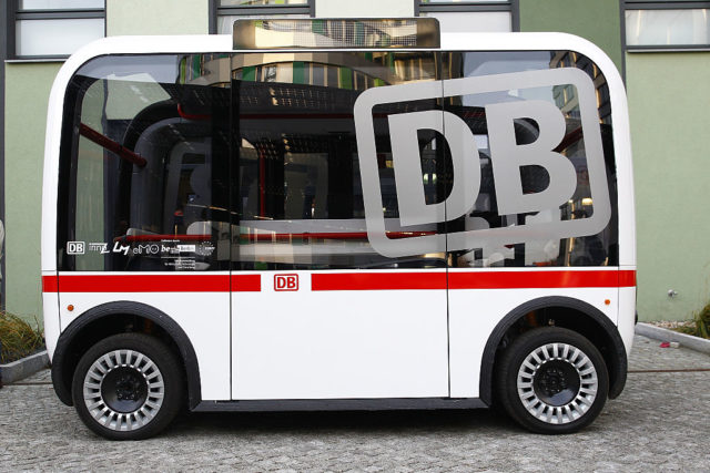 BERLIN, GERMANY - DECEMBER 16: A DB self driving Bus is seen during the presentation of a pilot project by Deutsche Bahn to demonstrate a self-driving public bus on December 16, 2016 in Berlin, Germany. The project is a collaboration between Deutsche Bahn and Berlin's Technical University at the university's EUREF campus. (Photo by Michele Tantussi/Getty Images)