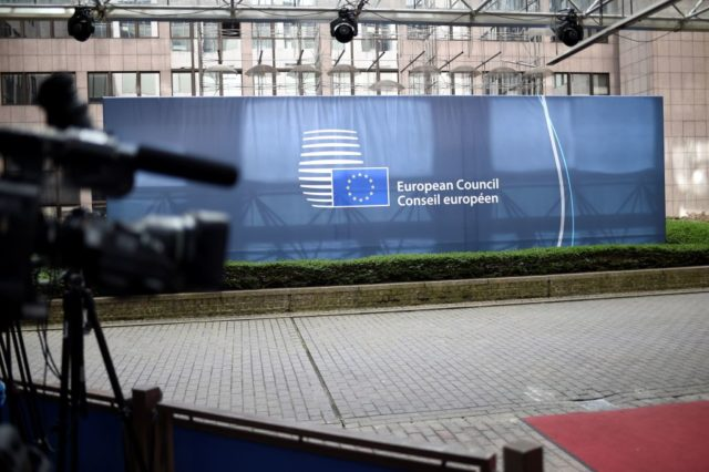 A camera is set up near at the European Council building during an EU summit in Brussels on March 10, 2017. The bloc's leaders voted by 27 to one at the summit in Brussels on March 10 to give former Polish premier Tusk a new two-and-a-half-year mandate, with only Poland's current Prime Minister Beata Szydlo voting against. Szydlo, whose right-wing eurosceptic Law and Justice (PiS) party has nursed a long and bitter enmity with the centrist Tusk, announced that she would block the summit's final communique in revenge.  / AFP PHOTO / STEPHANE DE SAKUTIN        (Photo credit should read STEPHANE DE SAKUTIN/AFP/Getty Images)