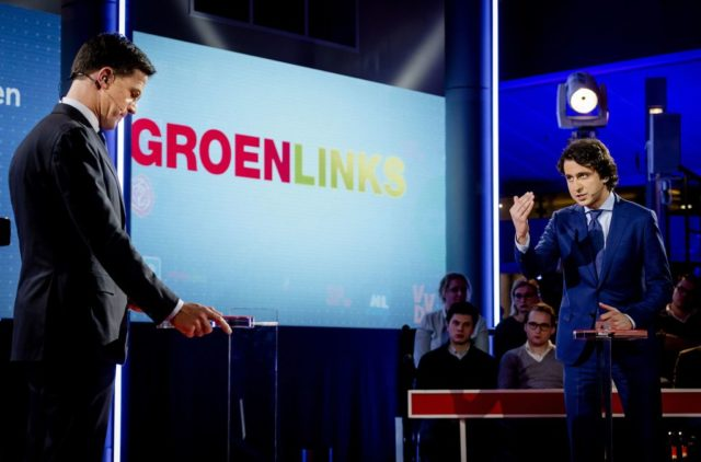 Netherland's Prime minister and People's Party for Freedom and Democracy leader Mark Rutte (L) and Jesse Klaver of GroenLinks Green Left Party speak during a televised debate between the eight top party leaders in The Hague on March 14, 2017, a day before the parliamentary elections. / AFP PHOTO / POOL / Robin van Lonkhuijsen        (Photo credit should read ROBIN VAN LONKHUIJSEN/AFP/Getty Images)