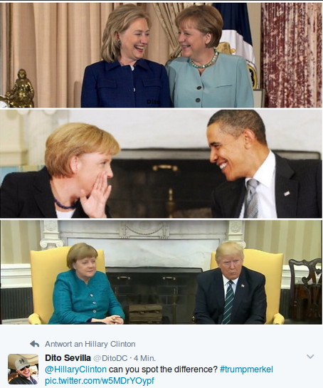 Dito Sevilla‏ @DitoDC 4 Min.vor 4 Minuten @HillaryClinton can you spot the difference? #trumpmerkel pic.twitter.com/w5MDrYOypf Foto: screenshot/twitter