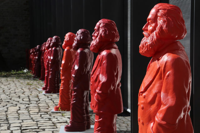 TRIER, GERMANY - MAY 05:  Some of the 500, one meter tall statues of German political thinker Karl Marx on display on May 5, 2013 in Trier, Germany. The statues, created by artist Ottmar Hoerl, are part of an exhibition at the Museum Simeonstift Trier commemorating the 130th anniversary of the death of Marx in 1883. Marx, who was born in Trier, is the author of The Communist Manifesto, and his ideas on the relationship between labour, industry and capital created the ideological foundation for socialist and communist movements across the globe.  (Photo by Hannelore Foerster/Getty Images)