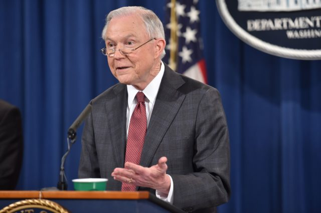 US Attorney General Jeff Sessions holds a press conference at the US Justice Department on March 2, 2017, in Washington DC. / AFP PHOTO / Nicholas Kamm        (Photo credit should read NICHOLAS KAMM/AFP/Getty Images)