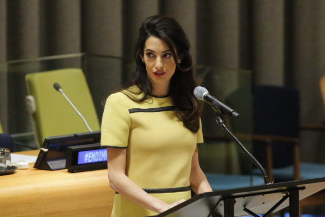 "Amal Clooney Legal Representative for Nadia Murad and other Yazidi survivors, speaks at ""The Fight against Impunity for Atrocities: Bringing Da'esh to Justice"" at the United Nations Headaquarters on March 9, 2017 in New York.  / AFP PHOTO / KENA BETANCUR        (Photo credit should read KENA BETANCUR/AFP/Getty Images)"