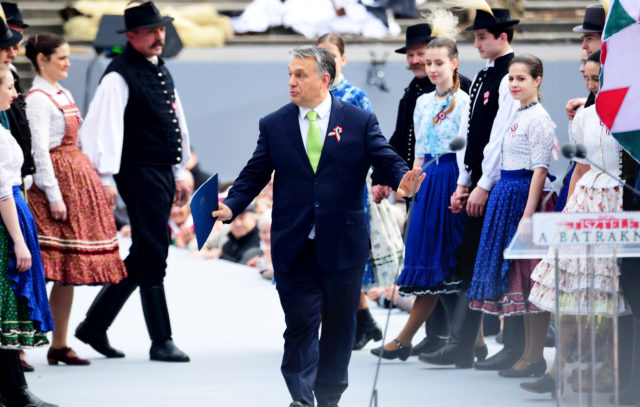 Hungarian Prime Minister Viktor Orban arrives on the podium prior to his speech in front of the National Museum of Budapest on March 15, 2017 during the official commemoration of the 169th anniversary of the 1848-1849 Hungarian revolution and independence war. The revolution in the kingdom of Hungary grew into a war for independence from the Habsburg rule. / AFP PHOTO / ATTILA KISBENEDEK        (Photo credit should read ATTILA KISBENEDEK/AFP/Getty Images)