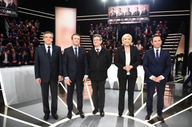 (l nach r) Die französischen Präsidentschaftskandidaten Francois Fillon, Emmanuel Macron, Jean-Luc Melenchon, Marine Le Pen. Foto: ELIOT BLONDET/AFP/Getty Images