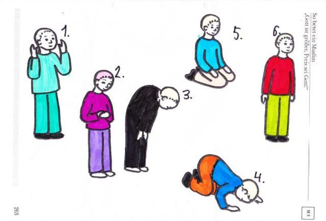 So geht's liebe Kinder! - Ehrerbietung und islamisches Gebet als Dauerthema im evangelischen Religionsunterricht der Klasse 3 einer baden-württembergischen Schule, abgehalten durch den Dorfpfarrer. Foto: privat