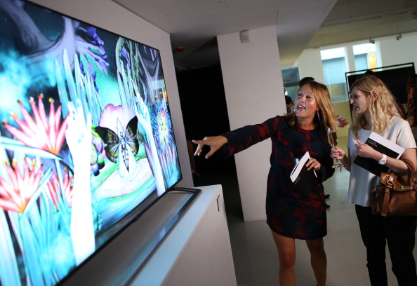 LONDON, ENGLAND - SEPTEMBER 04:  'The TV Gallery by John Lewis' at Rook & Raven Gallery in London, England, showcases specially commissioned digital artworks displayed on the latest ultra high definition televisions and the UK launch of the Samsung S9C Curved OLED television at Rook & Raven Gallery on September 4, 2013 in London, England.  (Photo by Peter Macdiarmid/Getty Images for John Lewis)