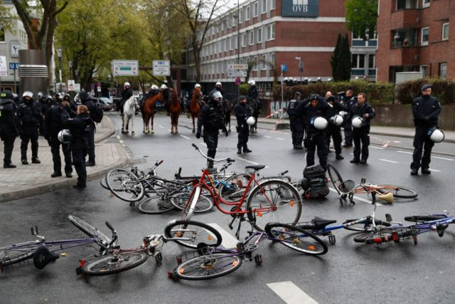 Demonstrators put bikes as barricade in front of the Maritim Hotel in Cologne, western Germany, where the congress of Germany's right-wing populist Alternative for Germany (AfD) party takes place on April 22, 2017. The anti-immigration party, which hopes to win its first seats in the national parliament in a general election in September, will gather in the western city of Cologne on April 22-23, 2017. / AFP PHOTO / Odd ANDERSEN (Photo credit should read ODD ANDERSEN/AFP/Getty Images)