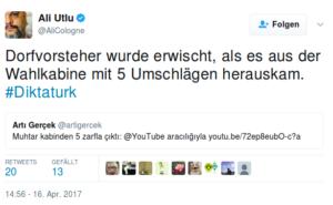 Referendum Türkei: Screenshot/Twitter, 16. April 2017, 15:20