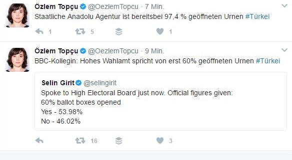 Referendum Türkei. Foto: Screenshot/Twitter https://twitter.com/hashtag/referendum?data_id=tweet%3A853655807807942656&f=tweets&vertical=default&src=tren
