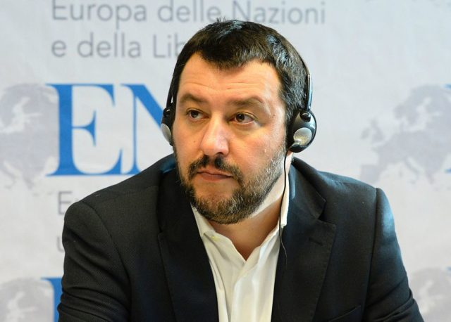 Matteo Salvini, chairman of Italian Lega Nord, is pictured during a press conference during the European Parliament's Europe of Nations and Freedom (ENF) congress in Koblenz, western Germany, on January 21, 2017. French presidential hopeful Marine Le Pen will lead the European gathering of right-wing populist parties in a show of strength ahead of crucial elections across the region this year. The congress will also feature Geert Wilders of the Dutch far-right Freedom Party, Frauke Petry of the anti-migrant Alternative for Germany (AfD) and Matteo Salvini of Italy's xenophobic Northern League. / AFP / Roberto Pfeil (Photo credit should read ROBERTO PFEIL/AFP/Getty Images)
