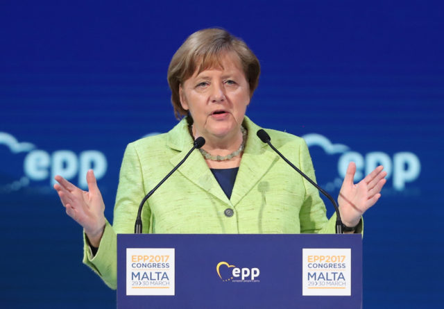SAN GILJAN, MALTA - MARCH 30:  German Chancellor Angela Merkel speaks at the European People's Party (EPP) Congress on March 30, 2017 in San Giljan, Malta. The EPP, which includes many European Christian democratic parties, is bringing together leaders from across Europe for a two-day congress. Europe is facing a new reality since yesterday, when United Kingdom officially triggered Article 50 to leave the European Union.  (Photo by Sean Gallup/Getty Images)