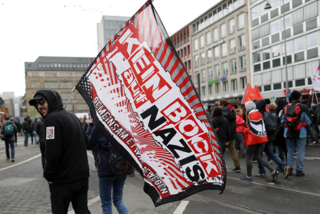 Protesters demonstrating against the right-wing populist Alternative for Germany (AfD) political party march in the city center not far from where the AfD was holding its federal congress on April 22, 2017 in Cologne, Germany. Up to 50,000 people were expected to participate in the protests against the AfD, which is holding its federal congress of delegates following the recent surprise announcement by its chairwoman Frauke Petry that she will not run in German federal elections scheduled for September. The AfD saw a surge in popularity that helped it capture seats in 10 state parliaments, though more recently that party has seen its poll numbers slip. It has also been plagued by infighting between more moderate and radical factions of its leadership.Maja Hitij/Getty Images