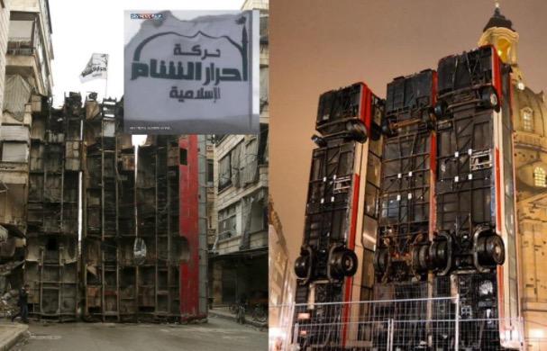 bus installation nach dem vorbild von islamisten barrikade vor dresdner frauenkirche wieder abgebaut. Black Bedroom Furniture Sets. Home Design Ideas
