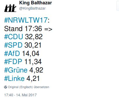 Wahlergebnis NRW 2017. Foto: Screenshot/twitter