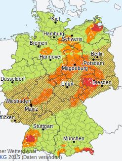 Unwettergefahr in Deutschland, 30. Mai 2017. Foto: screenshot/dwd.de