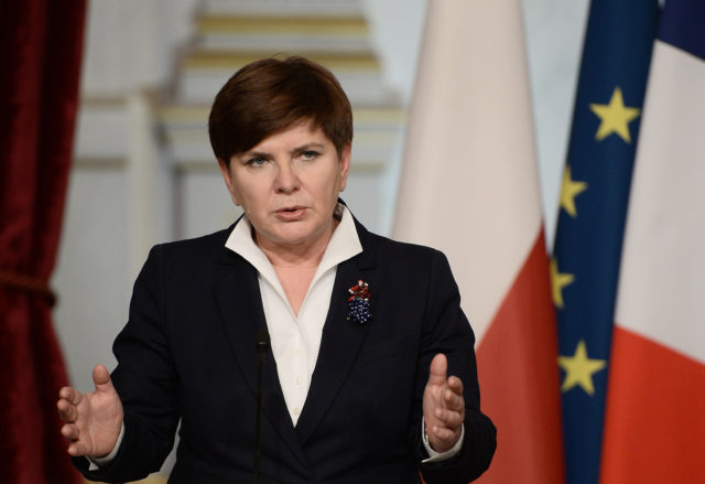 Polish Prime Minister Beata Szydlo gives a joint press conference and statement with the French president, on February 3, 2016 at the Elysee Presidential Palace in Paris.   / AFP / STEPHANE DE SAKUTIN        (Photo credit should read STEPHANE DE SAKUTIN/AFP/Getty Images)