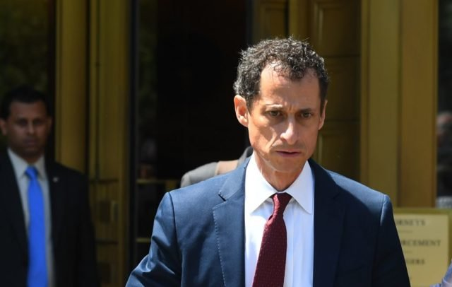 "Former US Congressman Anthony Weiner leaves Federal Court in New York on May 19, 2017 after  pleading  guilty  to one count of sending obscene messages to a minor, ending an investigation into a ""sexting"" scandal that played a role in last year's US presidential election. / AFP PHOTO / TIMOTHY A. CLARY        (Photo credit should read TIMOTHY A. CLARY/AFP/Getty Images)"