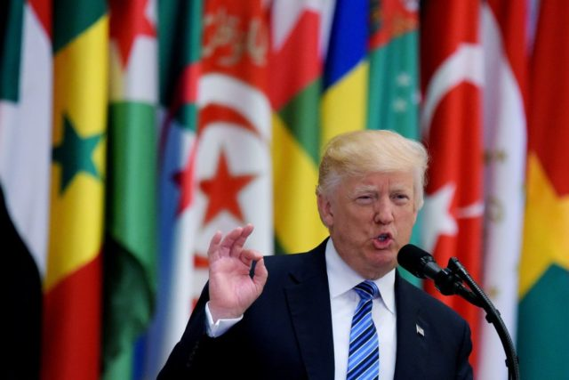 US President Donald Trump speaks during the Arabic Islamic American Summit at the King Abdulaziz Conference Center in Riyadh on May 21, 2017. / AFP PHOTO / MANDEL NGAN        (Photo credit should read MANDEL NGAN/AFP/Getty Images)