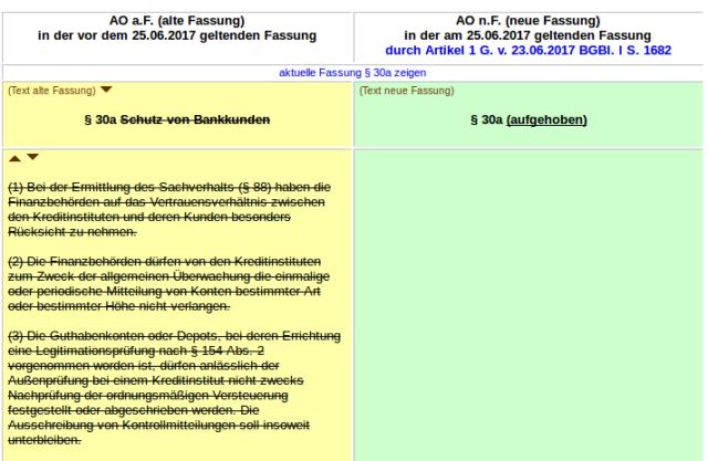 Das Bankgeheimnis wurde gestrichen. Foto: screenshot/buzer.de, 29. Juni 2017