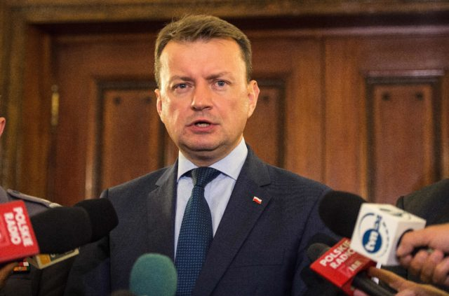 Poland's Interior Minister Mariusz Blaszczak speaks during a press conference at the Polish Embassy in London on September 5, 2016. Three Polish ministers made an urgent visit to London following attacks on its nationals in Britain, including a murder which may have been a hate crime. / AFP / CHRIS J RATCLIFFE        (Photo credit should read CHRIS J RATCLIFFE/AFP/Getty Images)