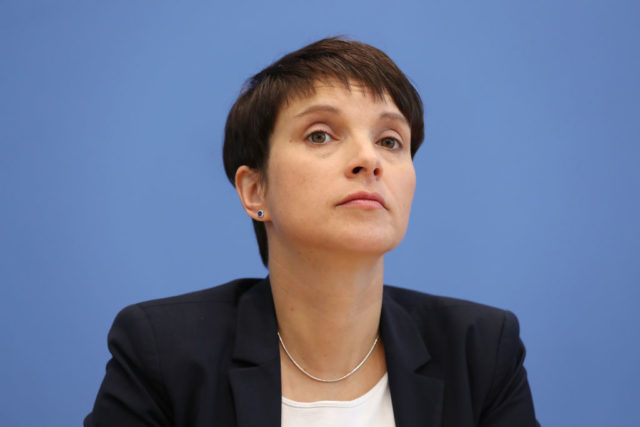 BERLIN, GERMANY - MAY 15:  Frauke Petry, co-head the right-wing, populist Alternative for Germany (AfD) political party, speaks to the media the day after state elections in North Rhine-Westphalia on May 15, 2017 in Berlin, Germany. The AfD came in fourth with 7.4% of the vote, less than polls had shown several months ago but enough to gain seats in the North Rhine-Westphalia state parliament. Germany faces federal elections in September.  (Photo by Sean Gallup/Getty Images)