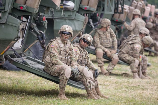 American Soldiers are seen during NATO Saber Strike military exercises on June 16, 2017 in Orzysz, Poland.  / AFP PHOTO        (Photo credit should read /AFP/Getty Images)