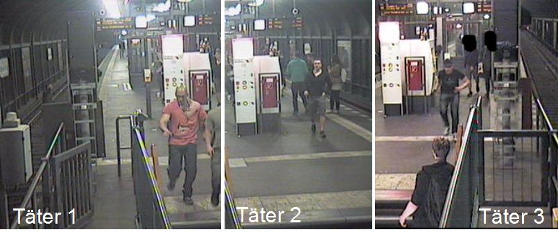 Mit diesen Aufnahmen aus Überwachungskameras fahndet die Polizei nach drei flüchtigen Straftätern. Foto: Polizei Berlin