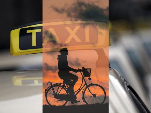 Fahrrad oder Taxi, was ist zumutbar, für den Mensch und für die Gemeinschaft? Foto: Foto: Oliver Berg/dpa & Public Domain / Comp. EPT