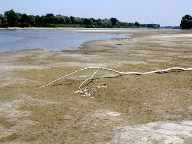 Der Fluss Po führt in Staffarda nur wenig Wasser. In Italien wird wegen einer andauernden Hitzewelle in einigen Regionen das Wasser knapp. Foto: Sandro Capatti/ANSA/dpa