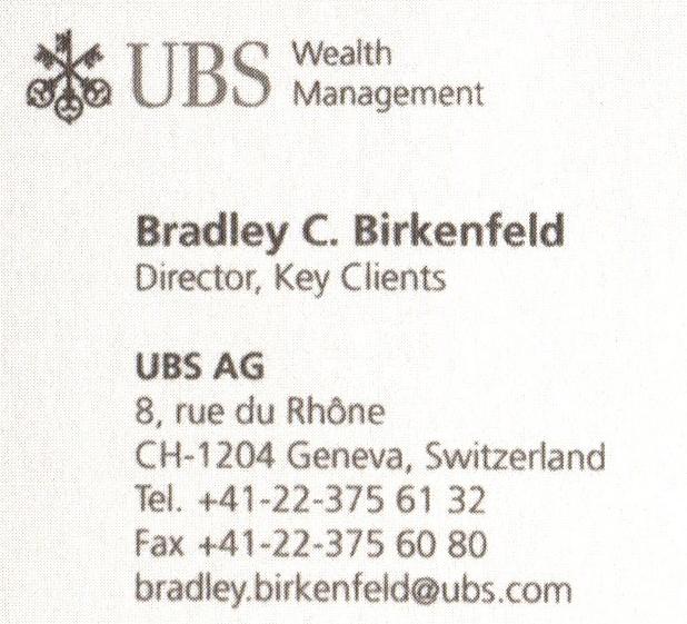 UBS Visitenkarte von Birkenfeld