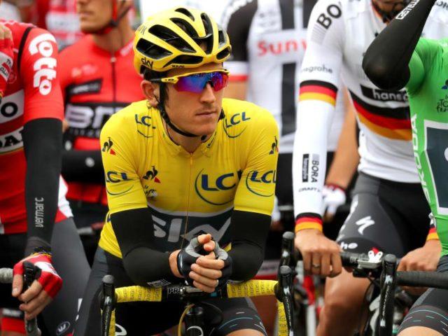 Nach dem Sieg im Zeitfahren startete der Brite Thomas Geraint im gelben Trikot. Foto: Daniel Karmann/dpa