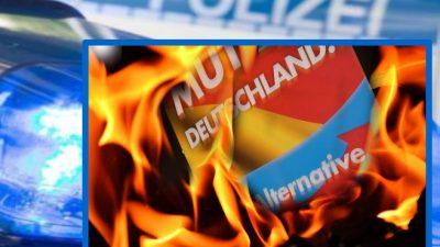 Heißer Wahlkampf in Bad Säckingen – Grosses AfD-Plakat mit Benzin übergossen und abgebrannt