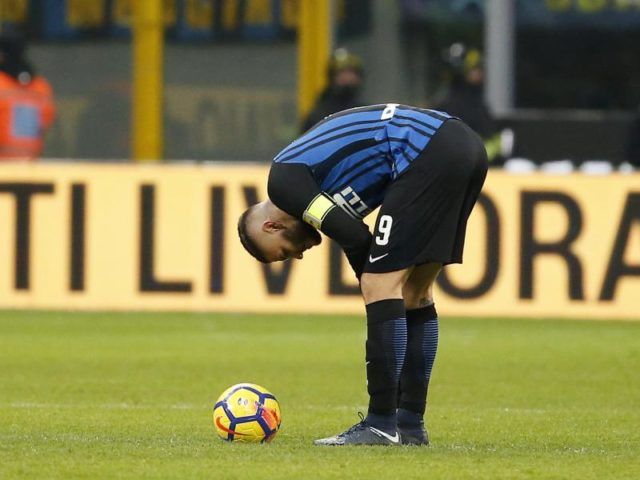 Mauro Icardi kam mit Inter Mailand niucht über ein torloses Unentschieden gegen Lazio Rom. Foto: Antonio Calanni/dpa