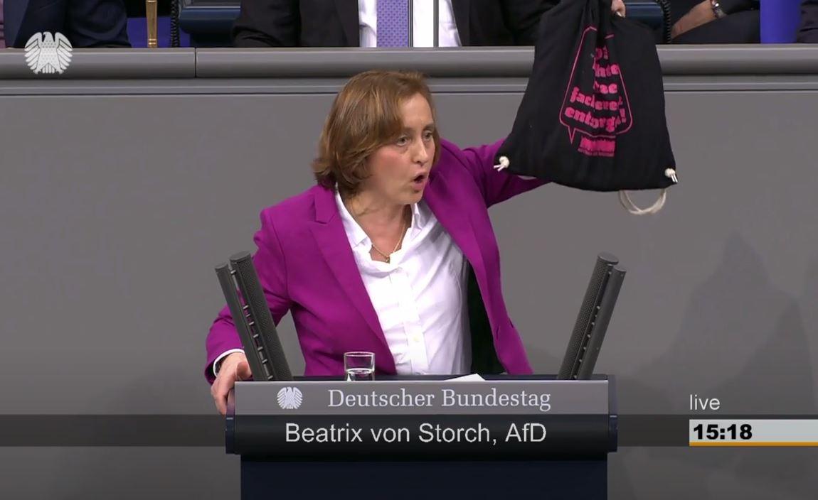 Paukenschlag im Bundestag: AfD-Vize von Storch nennt namentlich hohe Politiker, die offenbar linke Gewalt unterstützen