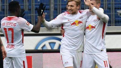 Leipzig macht weiter Druck:Turbulentes 3:2 bei Hannover 96