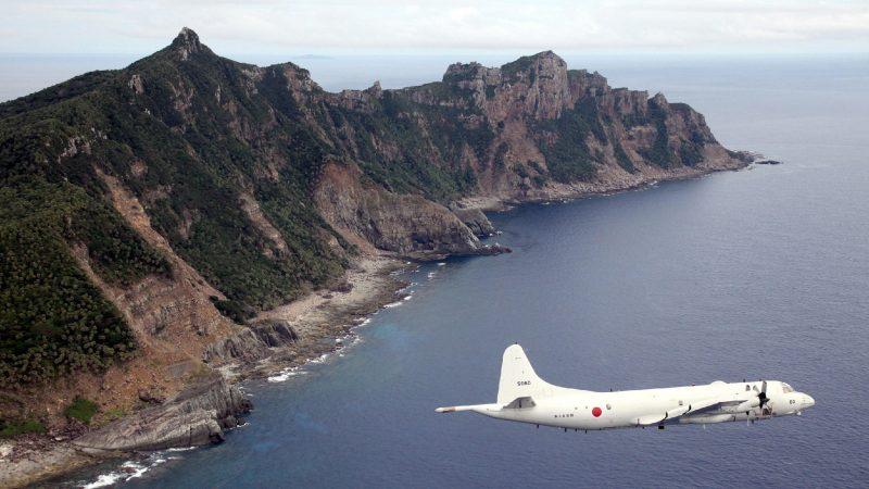 Japanischen Flugzeug über Senkaku