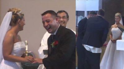 Dieser Vater weiß, wie man Schwung in die Hochzeit bringt.