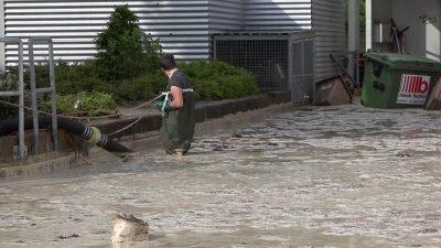 Überflutungen nach Starkregen in Hessen