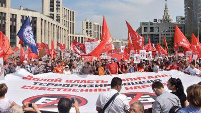 Russen demonstrierten gegen Anhebung des Rentenalters