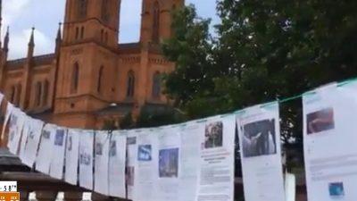 """Wiesbaden: """"Hand in Hand"""" und die """"Leine des Grauens"""" – Kunstprojekt macht das Unfassbare sichtbar – Linke Gegendemo grölt"""