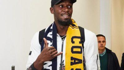 Usain Bolt zum Fußball-Probetraining in Australien