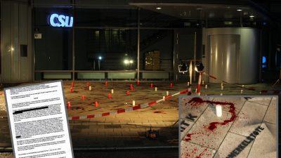 Kunstblut, Kerzen und Opfernamen in München: Hausdurchsuchungen bei Jungen Alternativen in Bayern wegen Protestaktion vor CSU-Zentrale