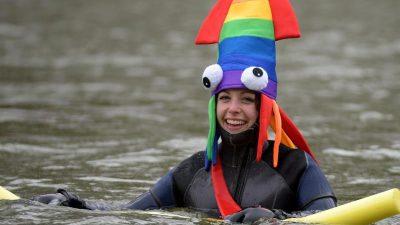 Traditionelles Winterschwimmen: Mehr als 1900 Schwimmer steigen in die Donau