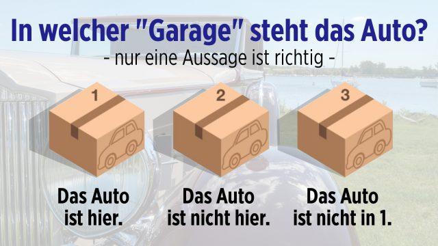 """In welcher """"Garage"""" steht das Auto?"""
