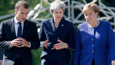 Charmeoffensive: May wirbt bei Merkel und Macron für längere Brexit-Frist