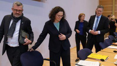 Andrea Nahles: Keine Gegenkandidaten in Sicht – Ohne Fraktionsvorsitz will sie nicht SPD-Chefin bleiben