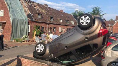 Verdacht auf Tornado im Münsterland – Schwere Sturmschäden, Autos flogen durch die Luft