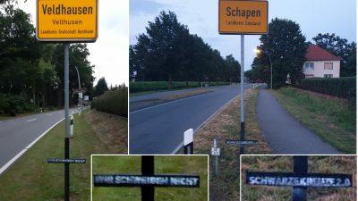 """In Worms und auch im Emsland: Mysteriöse """"Schwarze Kreuze"""" aufgetaucht – Totentrauer oder """"menschenverachtende Symbole""""?"""